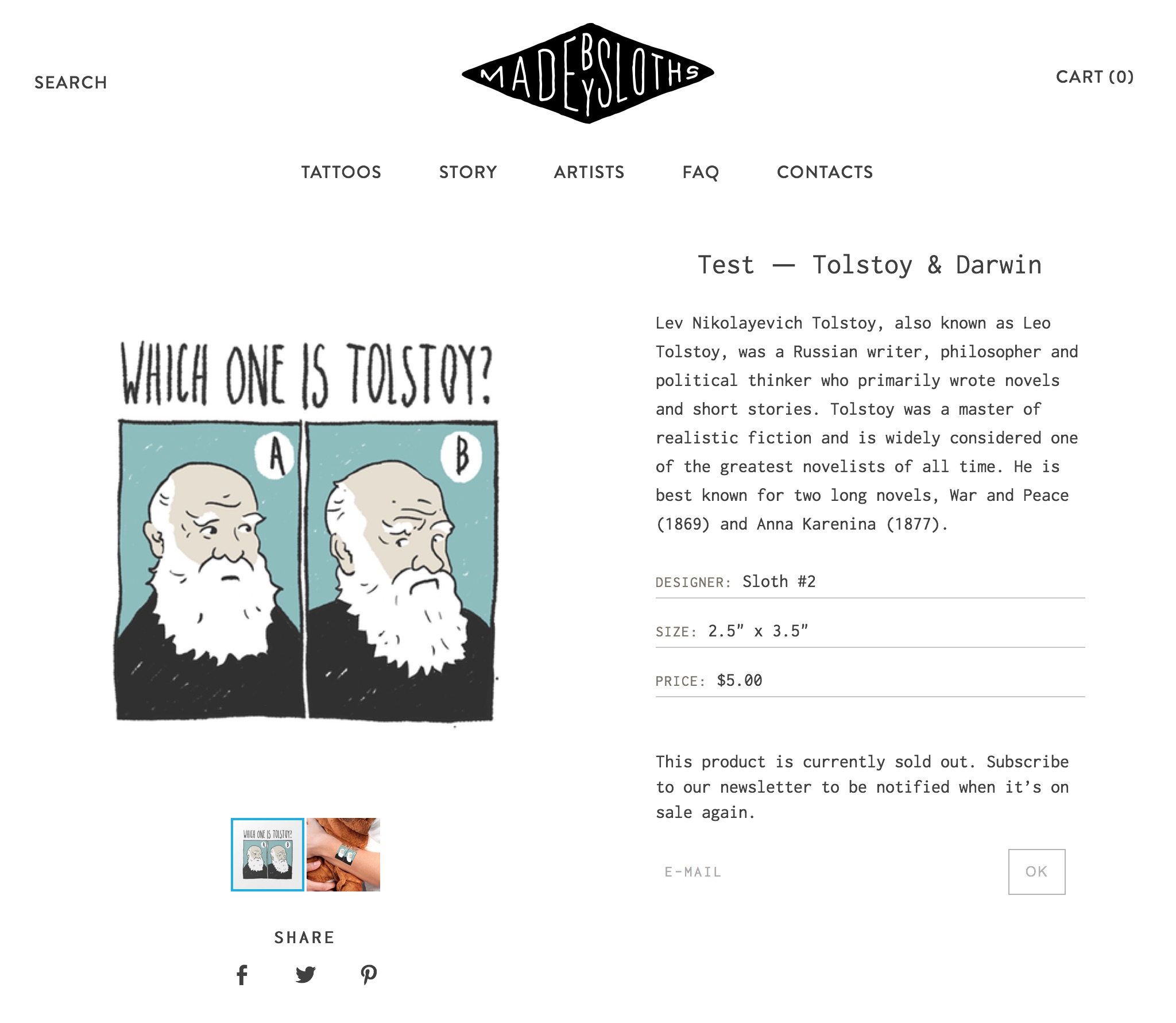 "Made by Sloths product page, an illustration ""Which one is Tolstoy"" featuring drawn portraits of Tolstoy and Darwin"